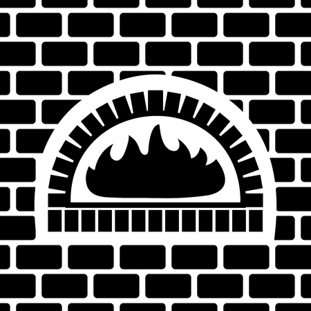 Vector silhouette of brick oven.  Fire inside a brick oven.