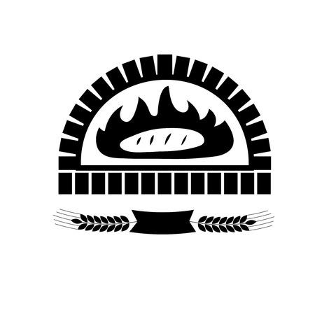 Vektorsilhouette des Backens des Brotes im Backsteinofen. Bandbanner mit Weizen.