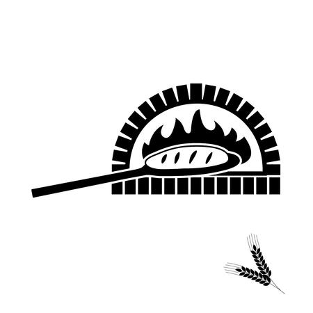 Vektorsilhouette des Backsteinofens und des gebackenen Brotes auf der Schaufel. Mit einer Schaufel Brot aus dem Steinofen nehmen.