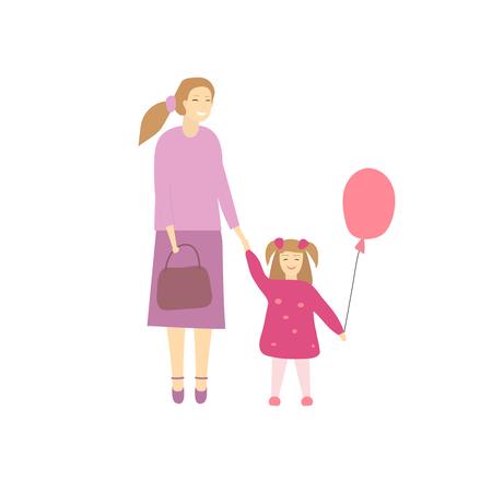ilustración vectorial de la madre feliz con su pequeña hija Ilustración de vector