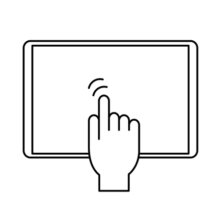 Vector outline hand touching tablet. Hand touching tablet icon.