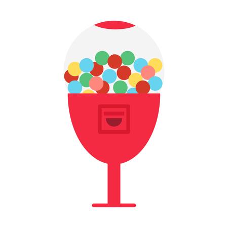Vector illustration of candy dispenser. Vector gum balls dispens Banque d'images - 110365481