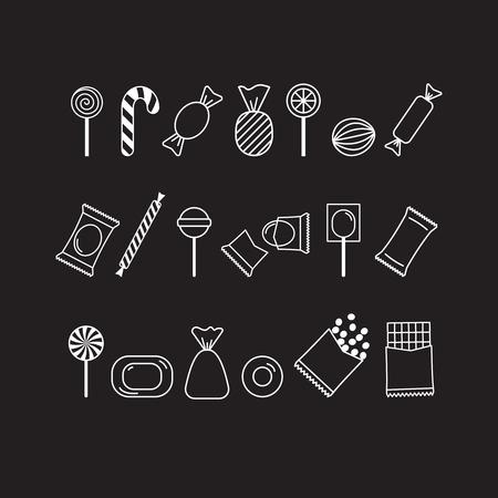Wektor zestaw ikon cukierków biały kontur na czarnym tle. Mogą