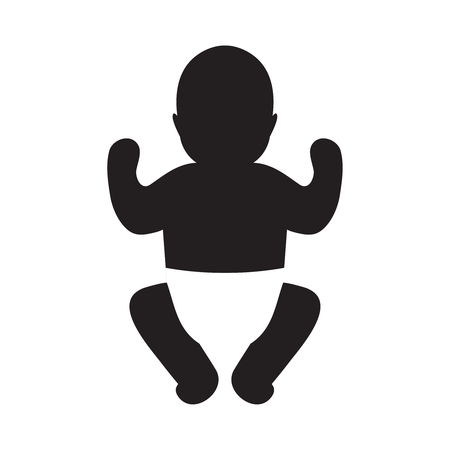 Vector silhouette of baby in a diaper. Illustration