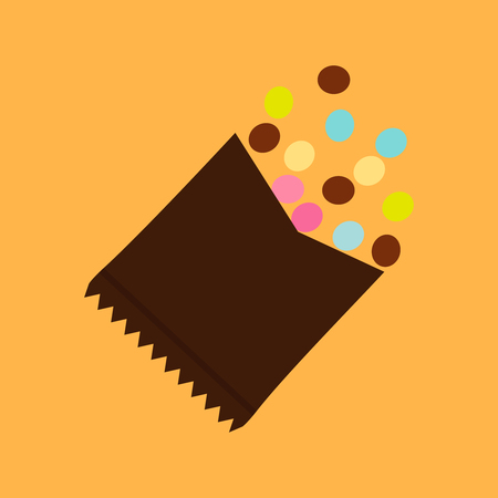Vector illustration of colorful chocolate candies with opened package.