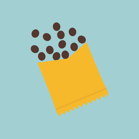 Vector illustration of chocolate candies with opened package. Illustration