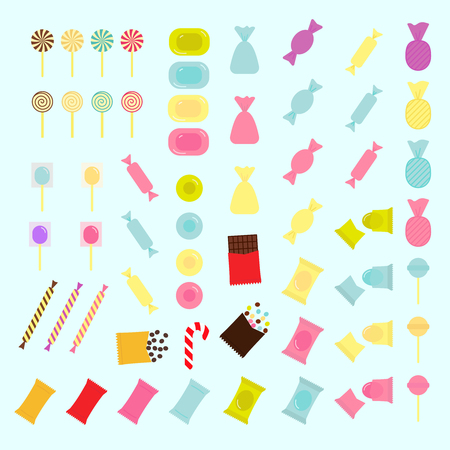 Vector set of colorful candies of various shapes in flat style. Candy icons.