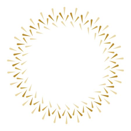 Vector gold sunburst circle. Sunburst golden frame. Burst shape.