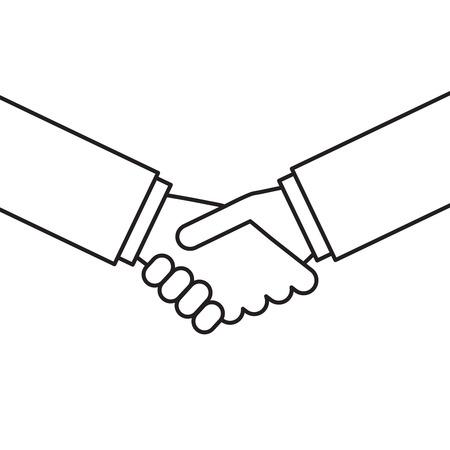 Ilustración de apretón de manos de contorno vectorial. Concepto de negocio. Ilustración de asociación y acuerdo.