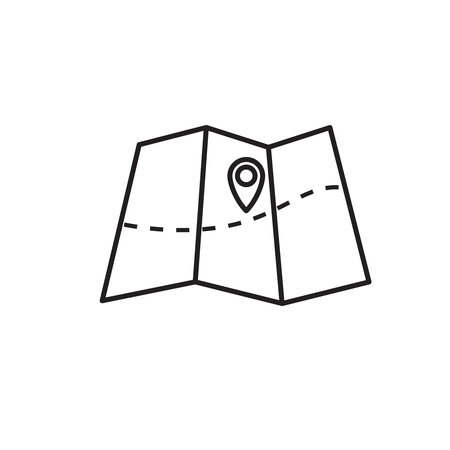 Vector folded map icon with marker. Outline icon.