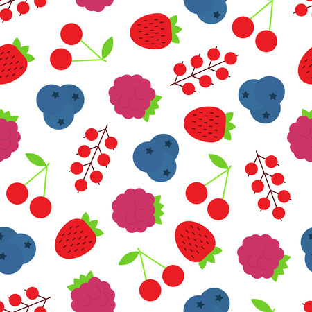 Vector seamless pattern of assorted berries such as strawberry,