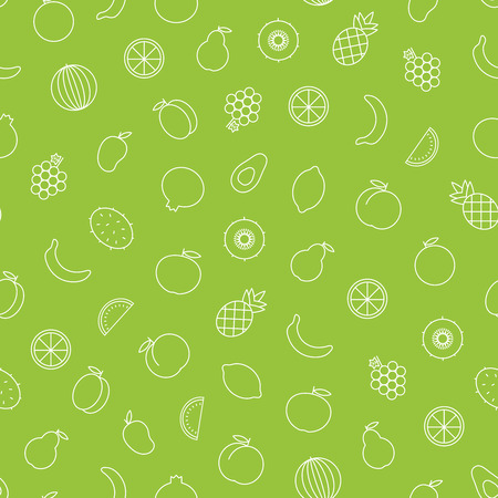 Vector seamless pattern of outline fruits such as avocado, apricot, orange, pineapple, peach, mango, grape, pear, apple, pomegranate, banana, kiwifruit, watermelon, lemon