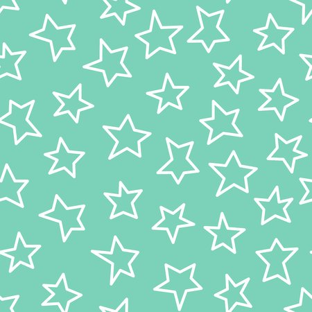 Vector seamless pattern of white abstract stars on mint background.
