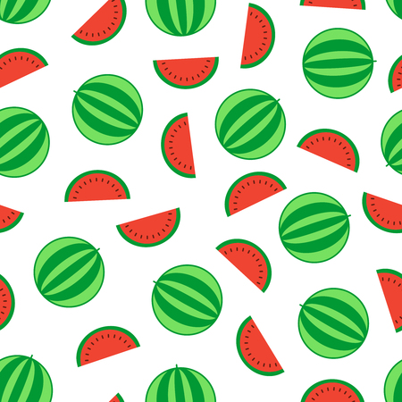 Vector seamless pattern of watermelon with slice.