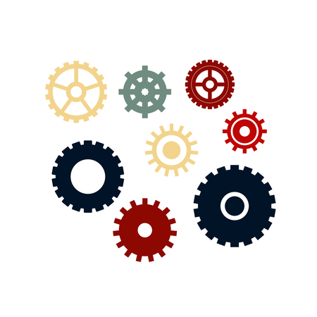 Vector set of different gears. Gears icons.