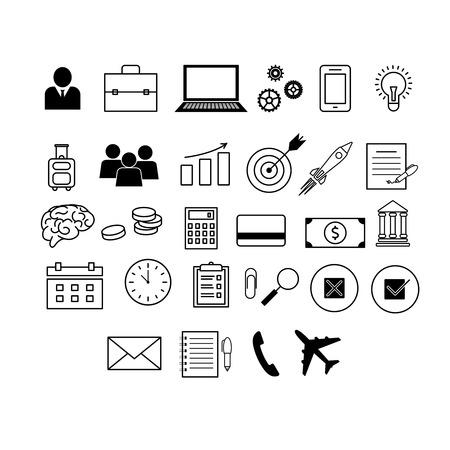 Icone vettoriali sul tema affari e finanza. Vettoriali