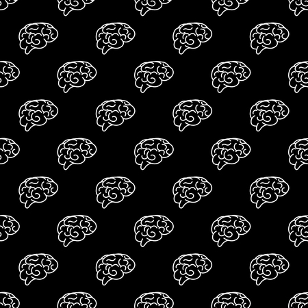 Vector white seamless pattern of human brain. Vector human brain Illustration