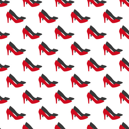 Vector seamless pattern of woman red shoes with shadow. Vector r