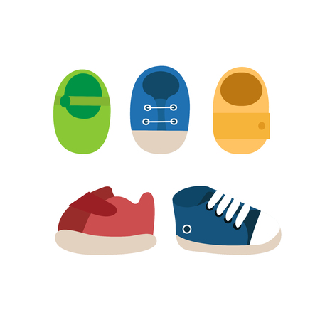 Vector set of colorful baby shoes icons.