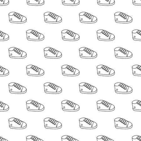 Vector seamless pattern of  outline baby sneakers.