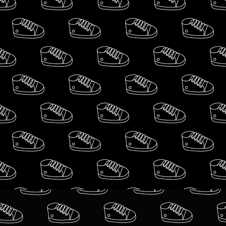 Vector seamless pattern of  white outline baby sneakers on black