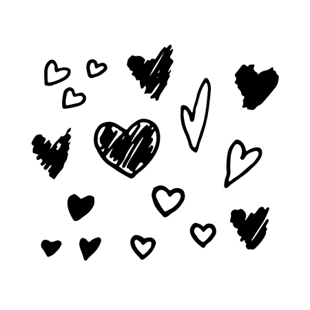 Vector hand drawn hearts. Vector design elements for Valentines day.