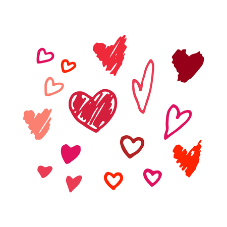 Vector red hand drawn hearts. Vector design elements for Valentines day. Illustration