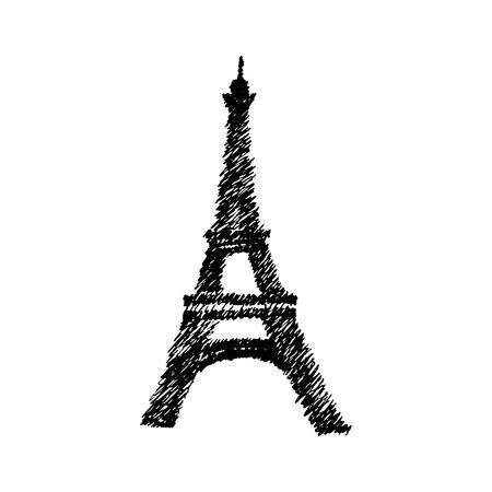 Dibujado a mano vector doodle torre Eiffel. Boceto dibujado a mano de vector de la torre Eiffel.