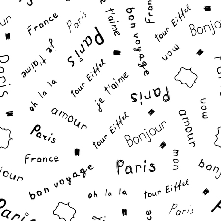 Vector seamless pattern with hand drawn French words.