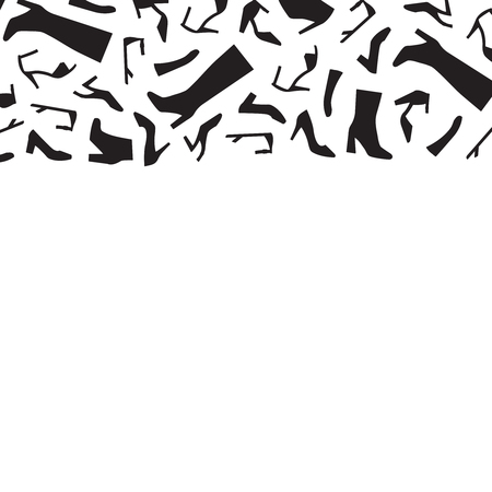 Vector horizontal border with woman shoes silhouettes.