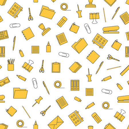 Vector seamless pattern with stationery. Stationery tools seamless pattern.