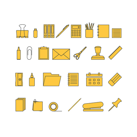 Vector yellow icons of stationery. Stationery tools icons. Vectores