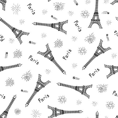 Patrón transparente de vector con torres Eiffel dibujadas a mano, fuegos artificiales y palabra París.