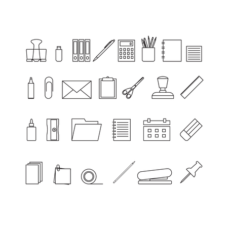 Vector outline icons of stationery. Stationery tools icons.