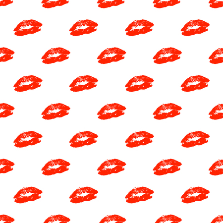 Vector seamless pattern with real red lips silhouettes.