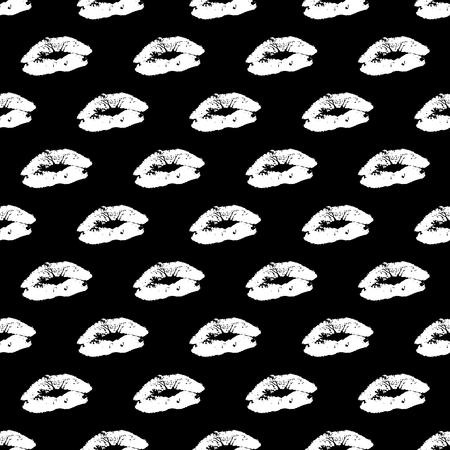 Vector seamless pattern with real lips silhouettes. Ilustração