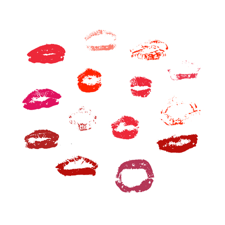 Vector set of real red lips silhouettes. Lips collection.