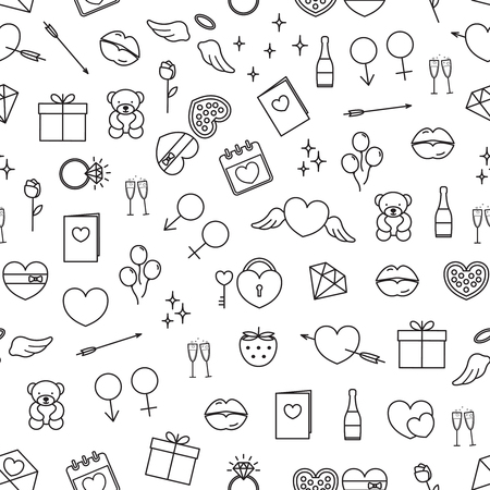 Vector seamless pattern with outline valentine day symbols.
