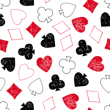 Vector seamless pattern with hand drawn playing card symbols. Illustration
