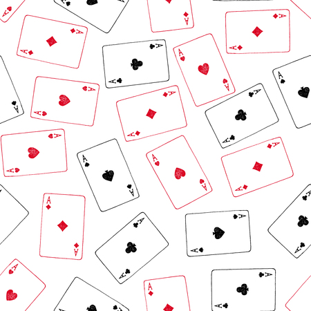 Vector seamless pattern with hand drawn aces playing cards. Illustration