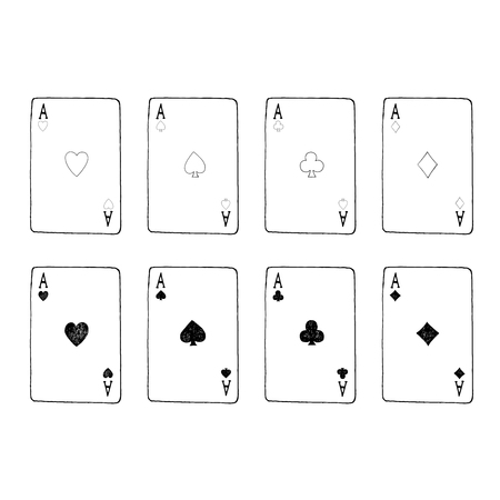 Vector hand drawn aces playing cards. Vector illustration.