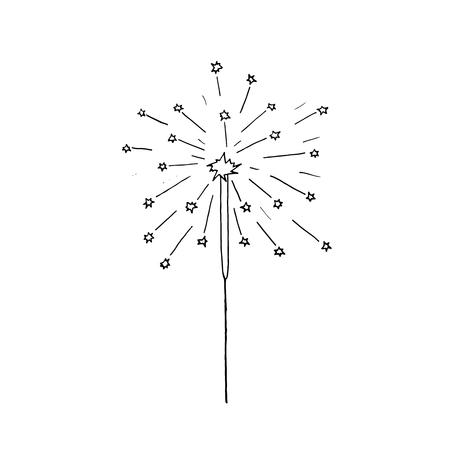 Vector hand drawn burning sparkler. Christmas sparkler.
