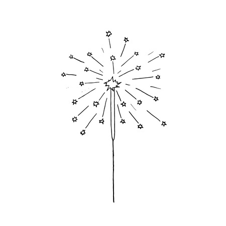 Vector hand drawn burning sparkler. Christmas sparkler.