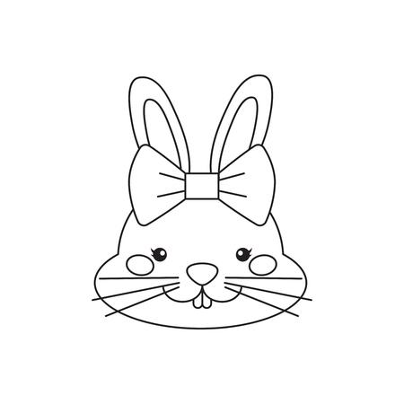 Vector outline cute cartoon bunny with bow.