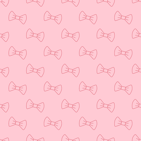 Vector seamless pattern with outline pink bow.
