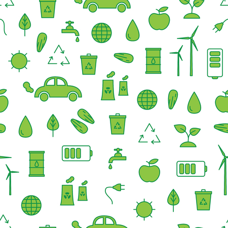 Vector seamless pattern with eco symbols. Ecology seamless pattern.