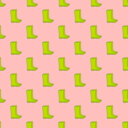 Vector seamless pattern of green rubber boots.