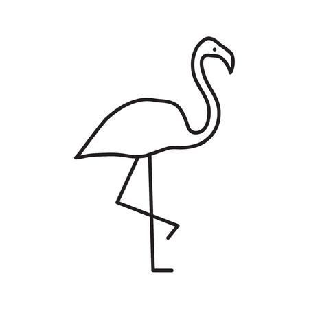 Vector outline flamingo. Vector standing black flamingo. Vector illustration. Иллюстрация