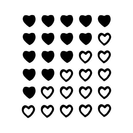 Vector hand drawn rating hearts panel. Customer review, vote navigation bar. Vektorové ilustrace