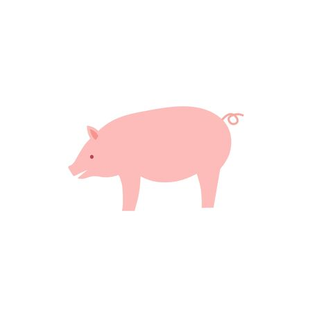 Vector illustration of flat pig. Vector pink pig. Stock Vector - 133312929